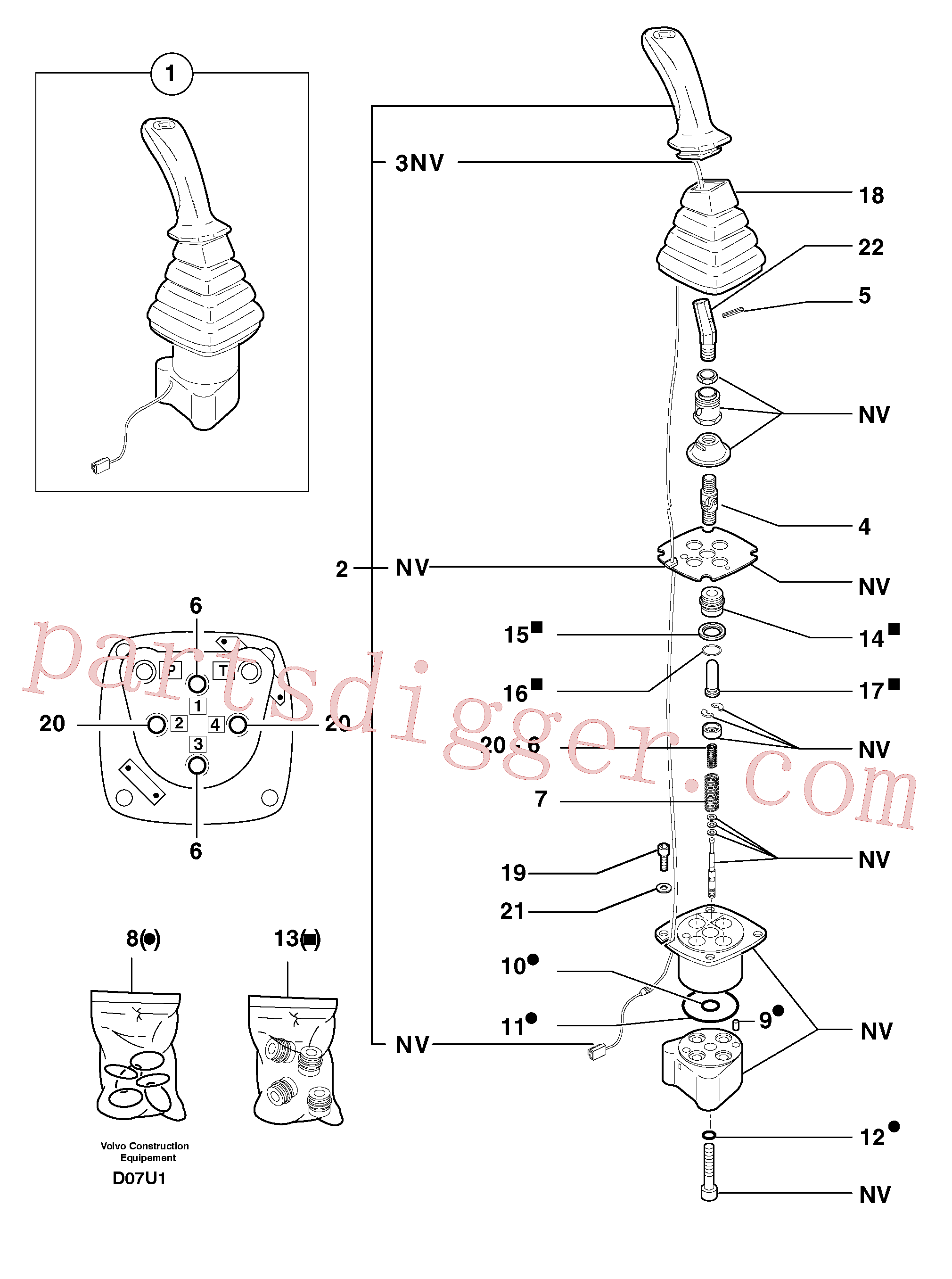 PJ4290007 for Volvo Control lever : dipper arm / slewing ( left )(D07U1 assembly)