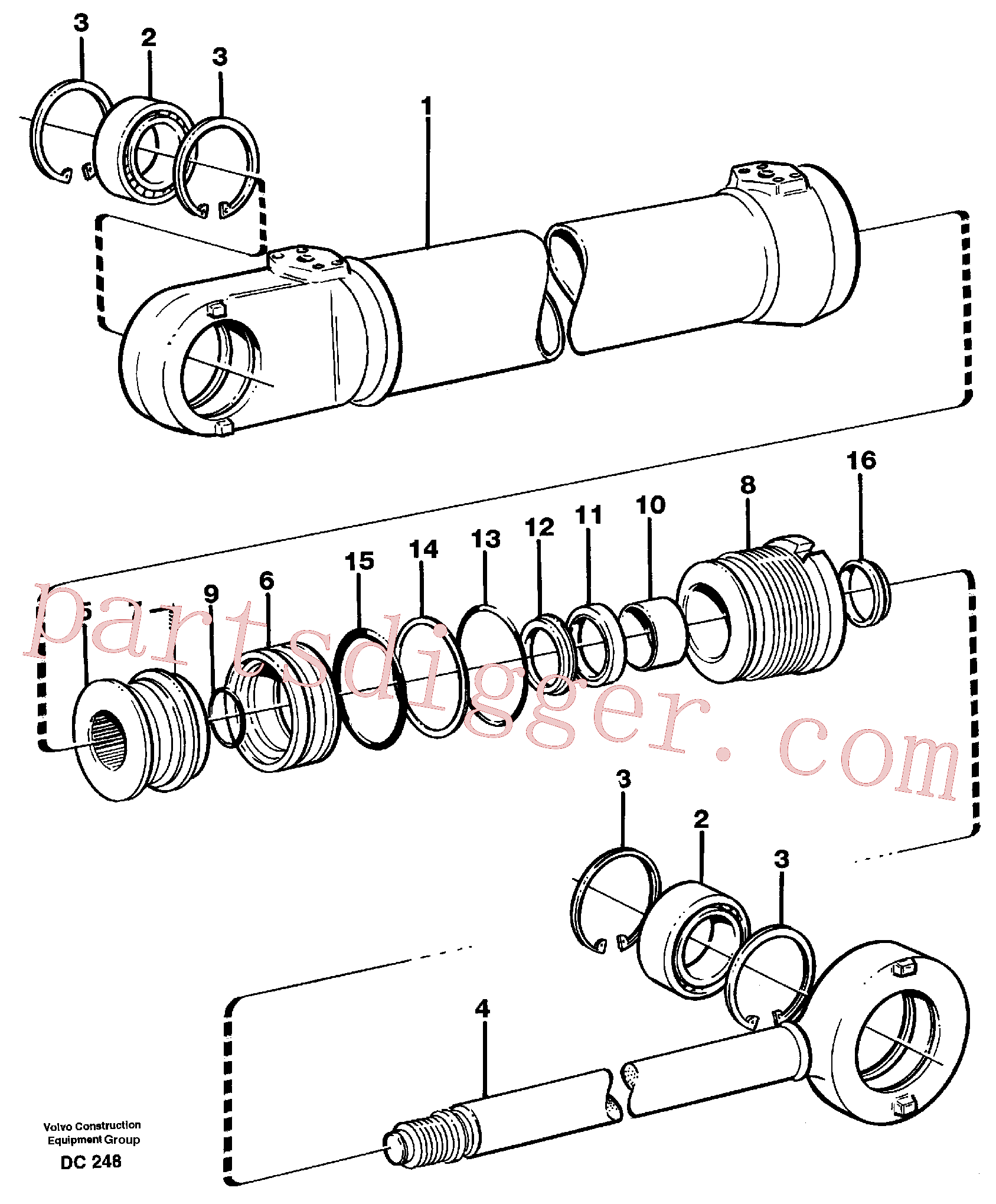 VOE11704136 for Volvo Hydraulic cylinder(DC248 assembly)