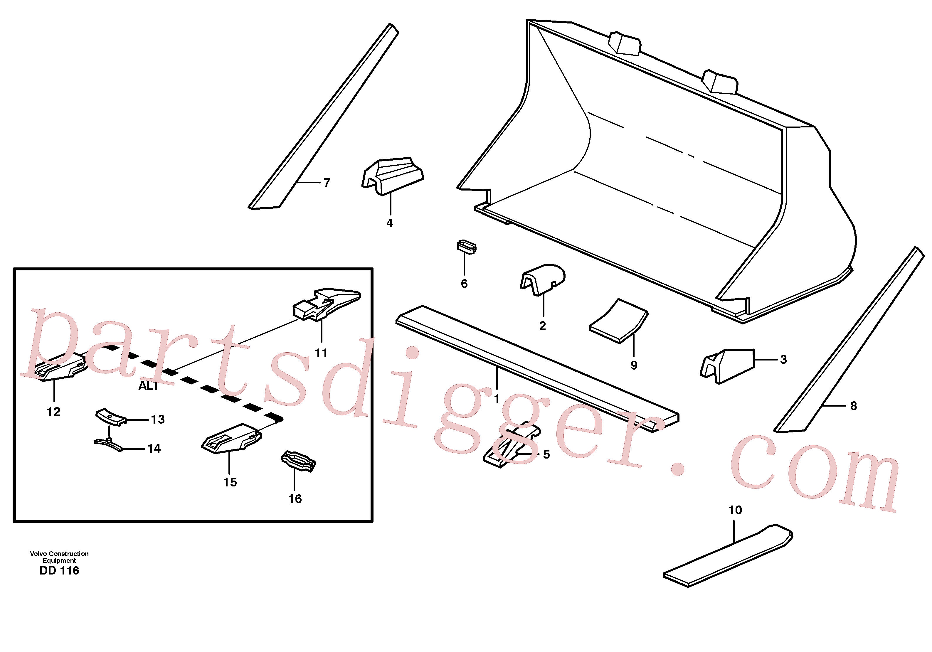 VOE4786500 for Volvo Bucket, straight with teeth(DD116 assembly)