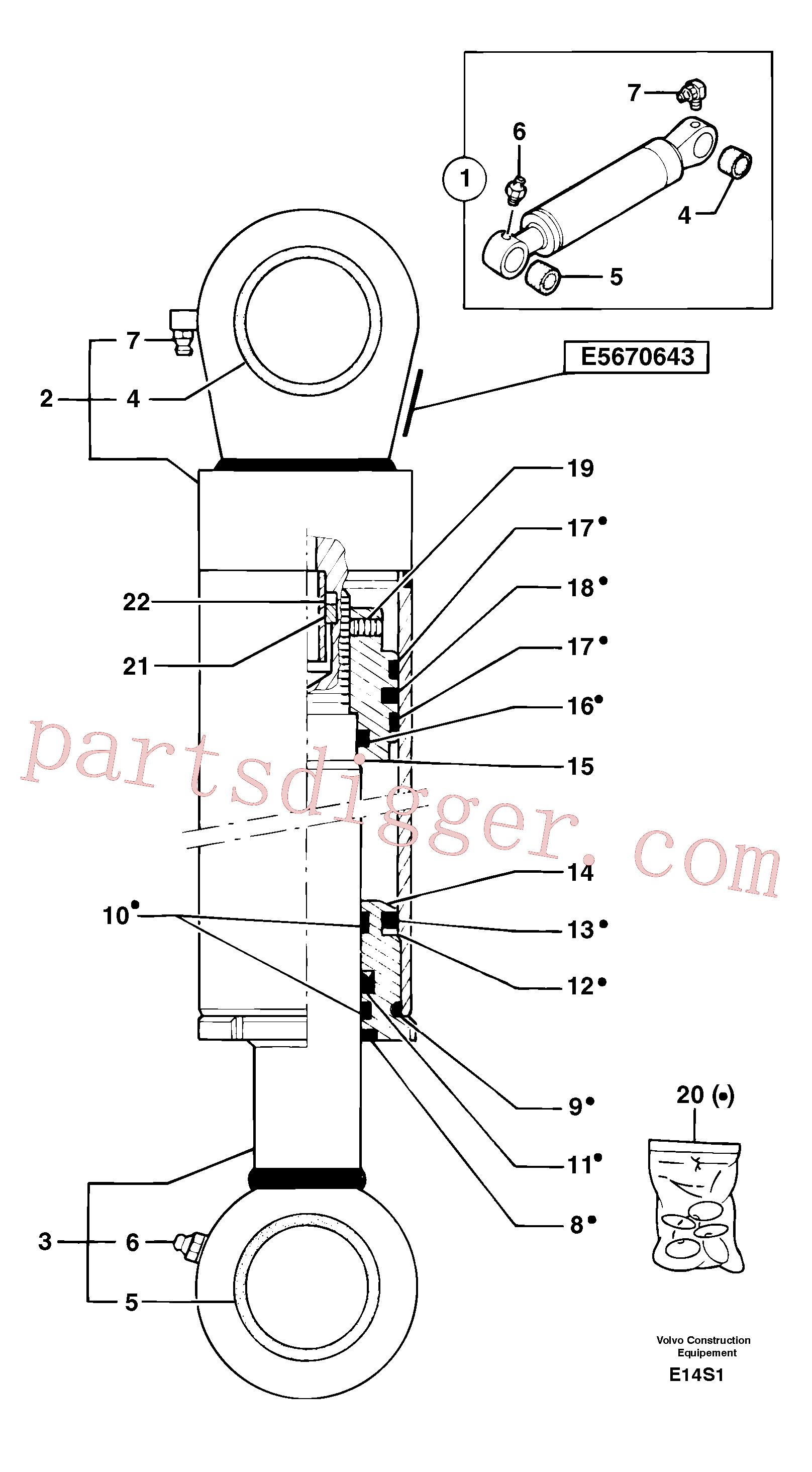 PJ5580006 for Volvo Dipper arm cylinder(E14S1 assembly)