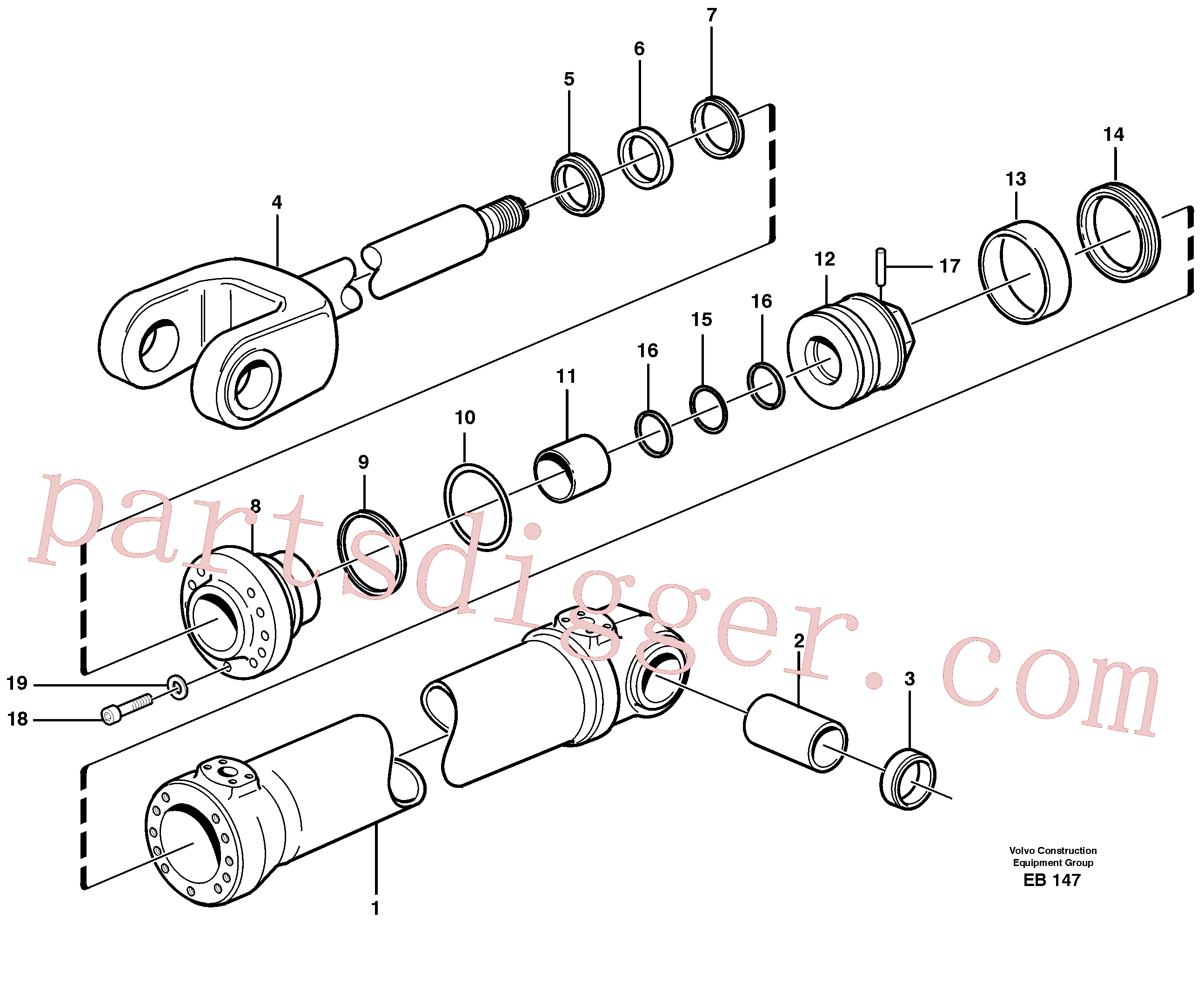VOE4833009 for Volvo Hydraulic cylinder, lifting(EB147 assembly)