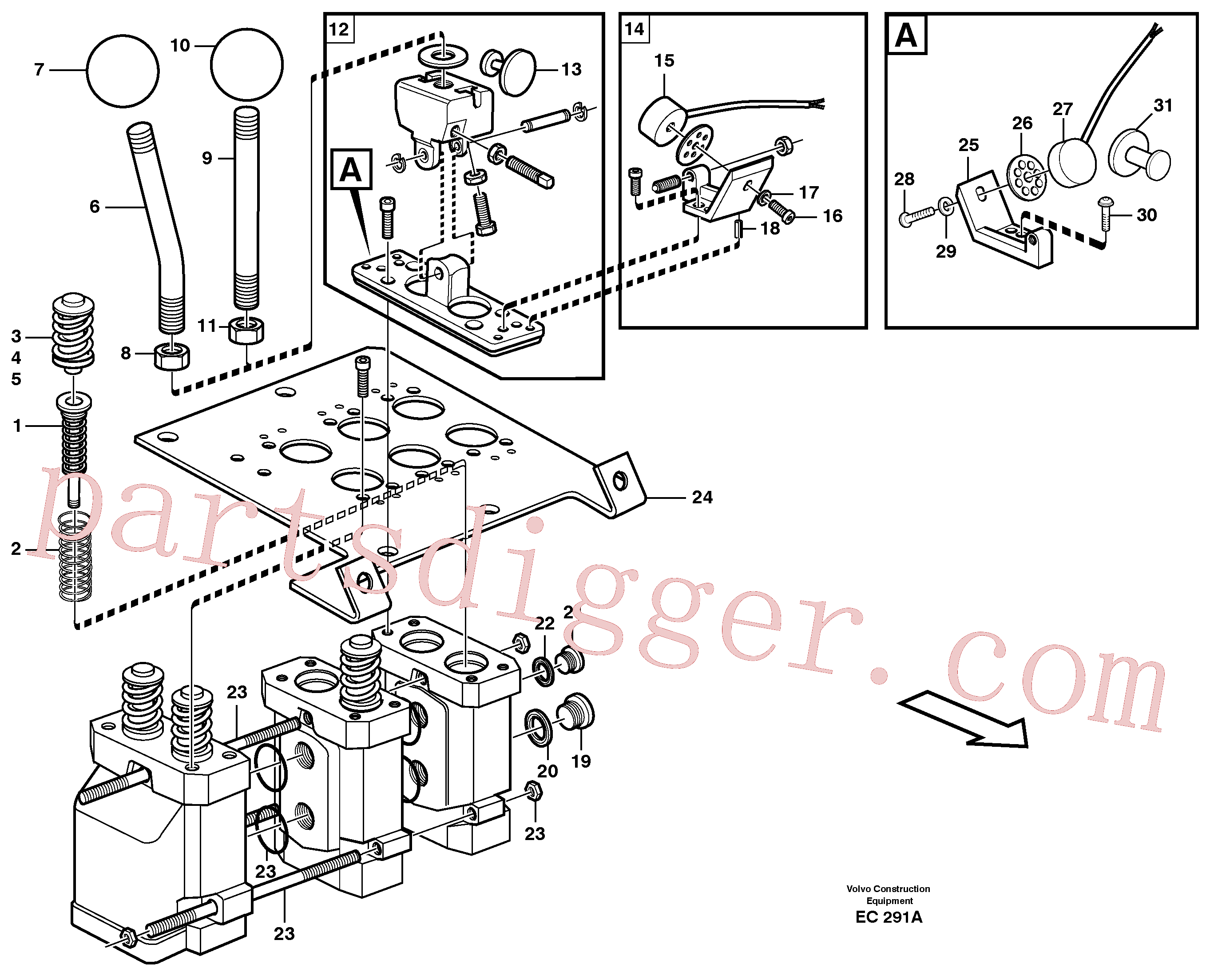 VOE11991048 for Volvo Servo valve(EC291A assembly)
