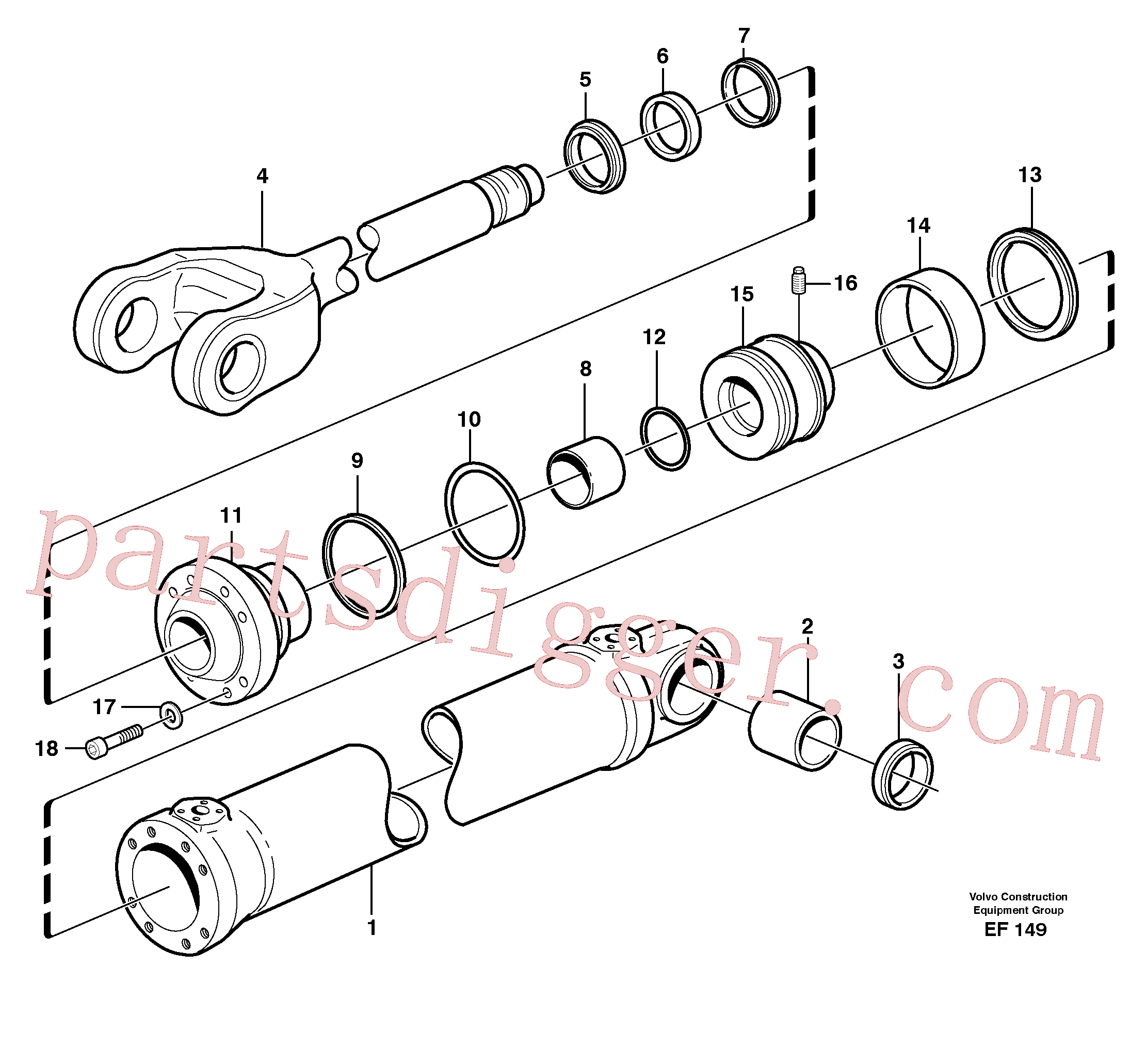 VOE11088467 for Volvo Hydraulic cylinder, lifting(EF149 assembly)