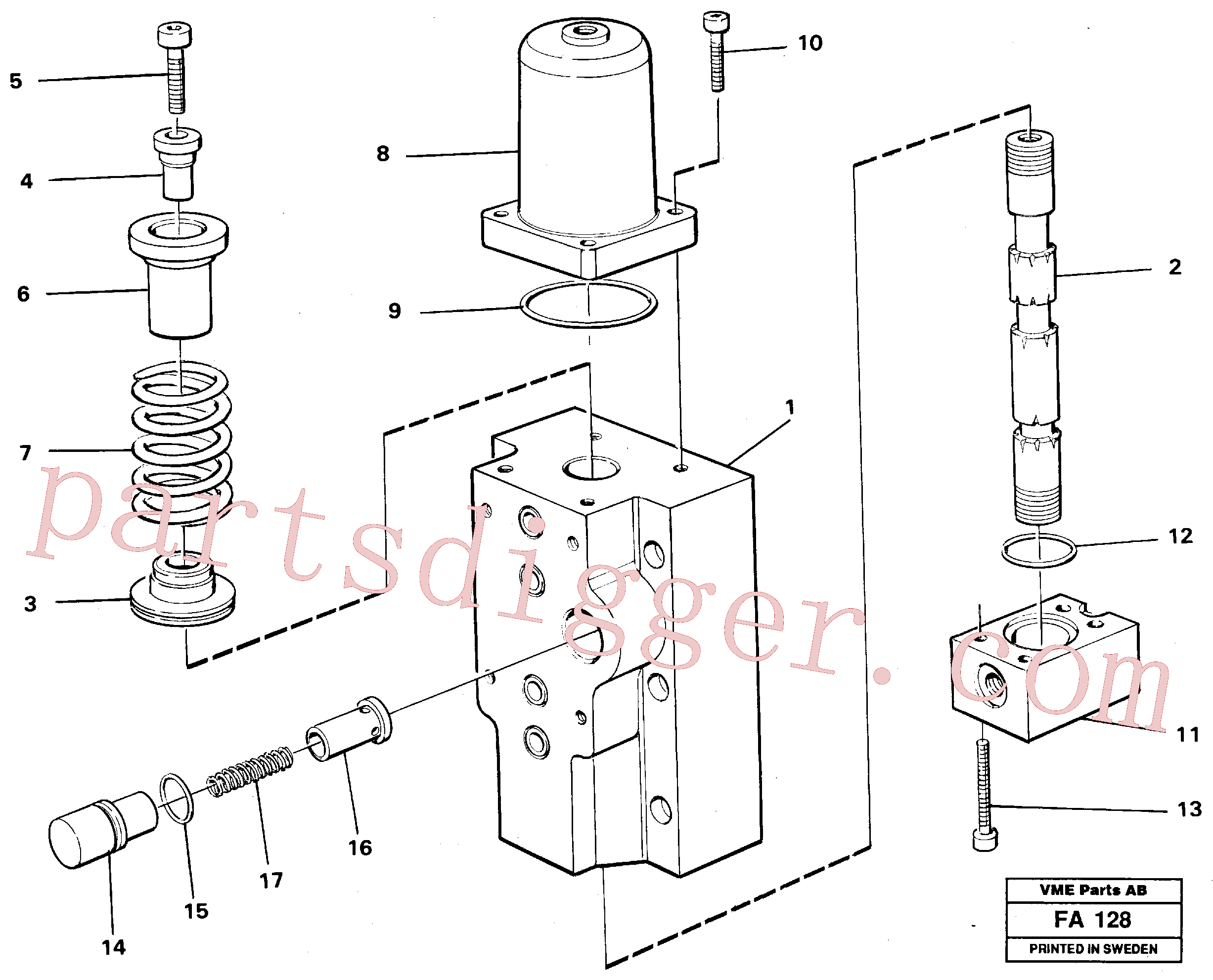 VOE14252108 for Volvo Four-way valve for hammer/shears, Four-way valves Primary(FA128 assembly)