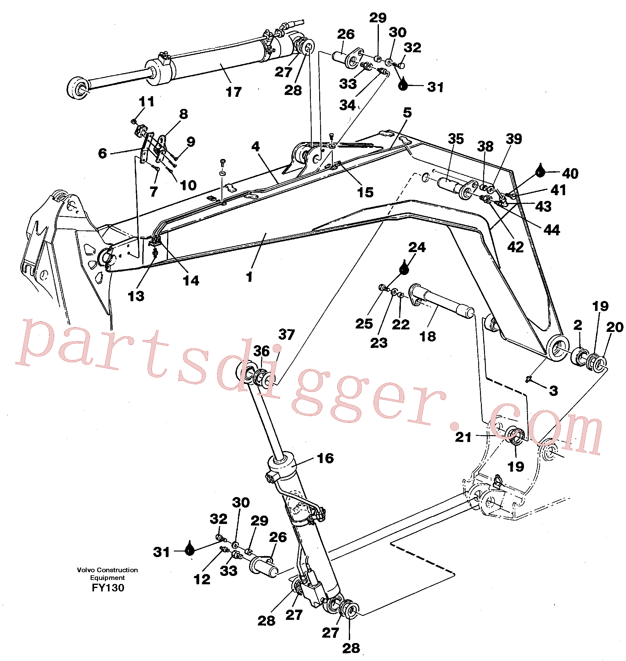 VOE14014607 for Volvo Backhoe boom 4,40m(FY130 assembly)