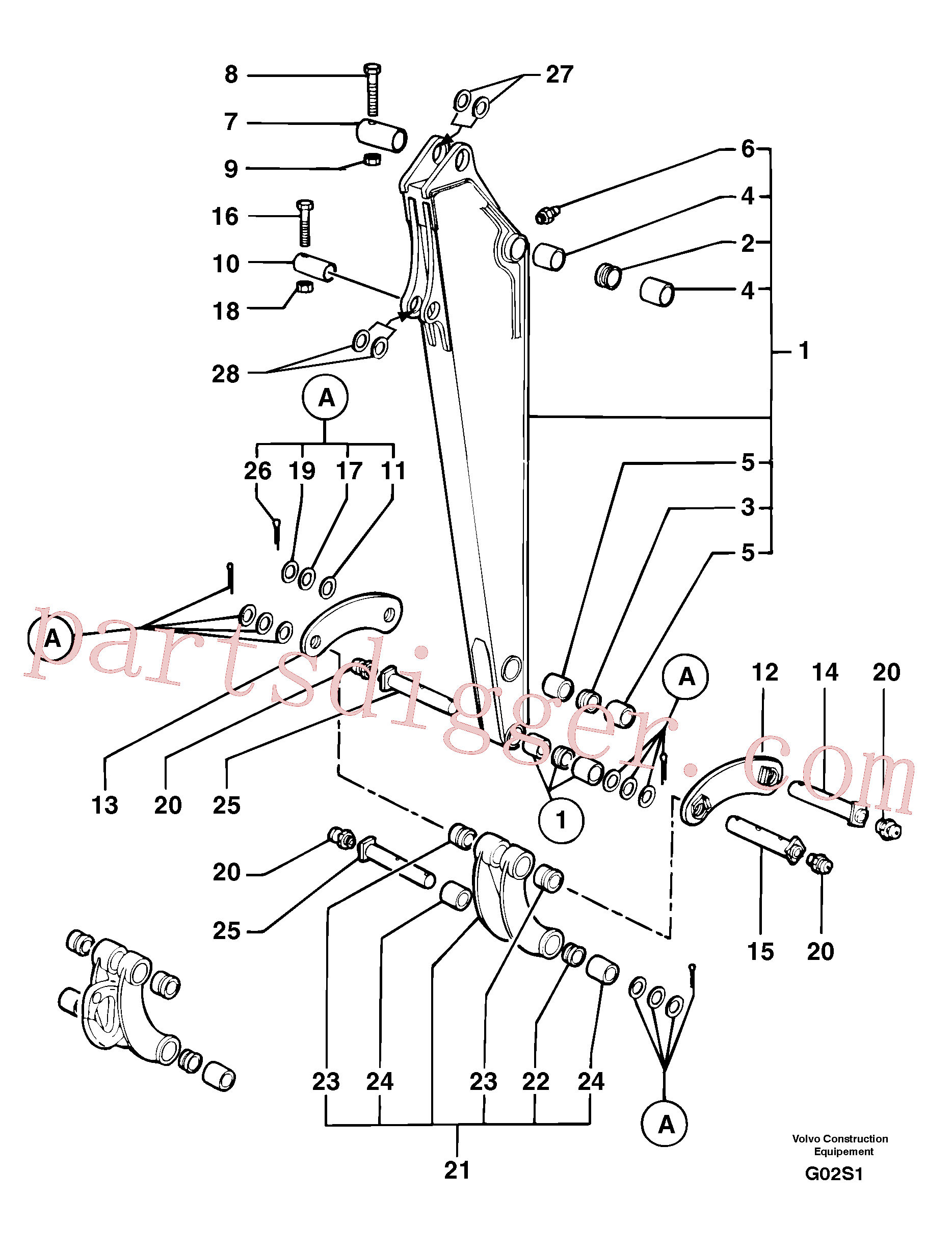 VOE11805773 for Volvo Dipper arm(G02S1 assembly)