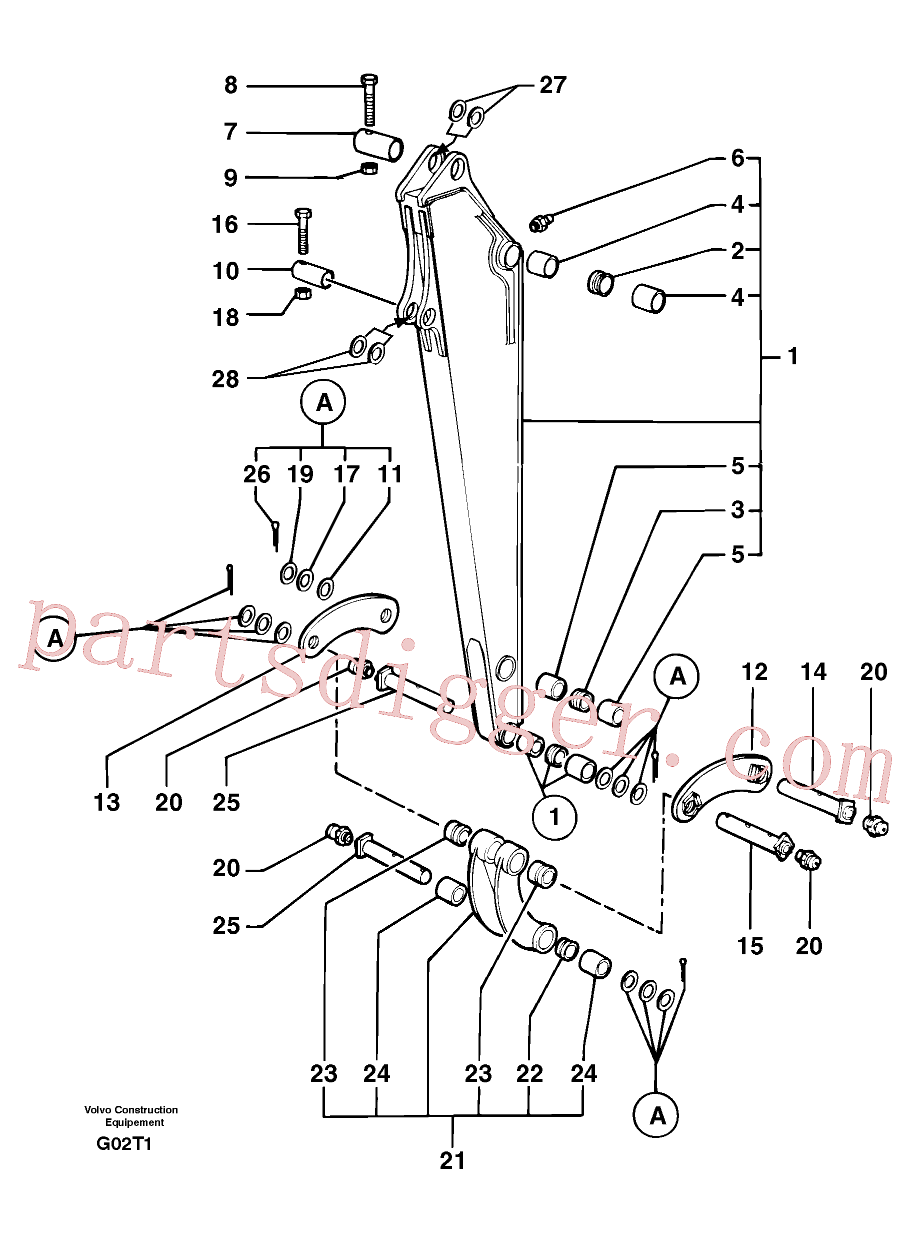 VOE11805773 for Volvo Dipper arm(G02T1 assembly)