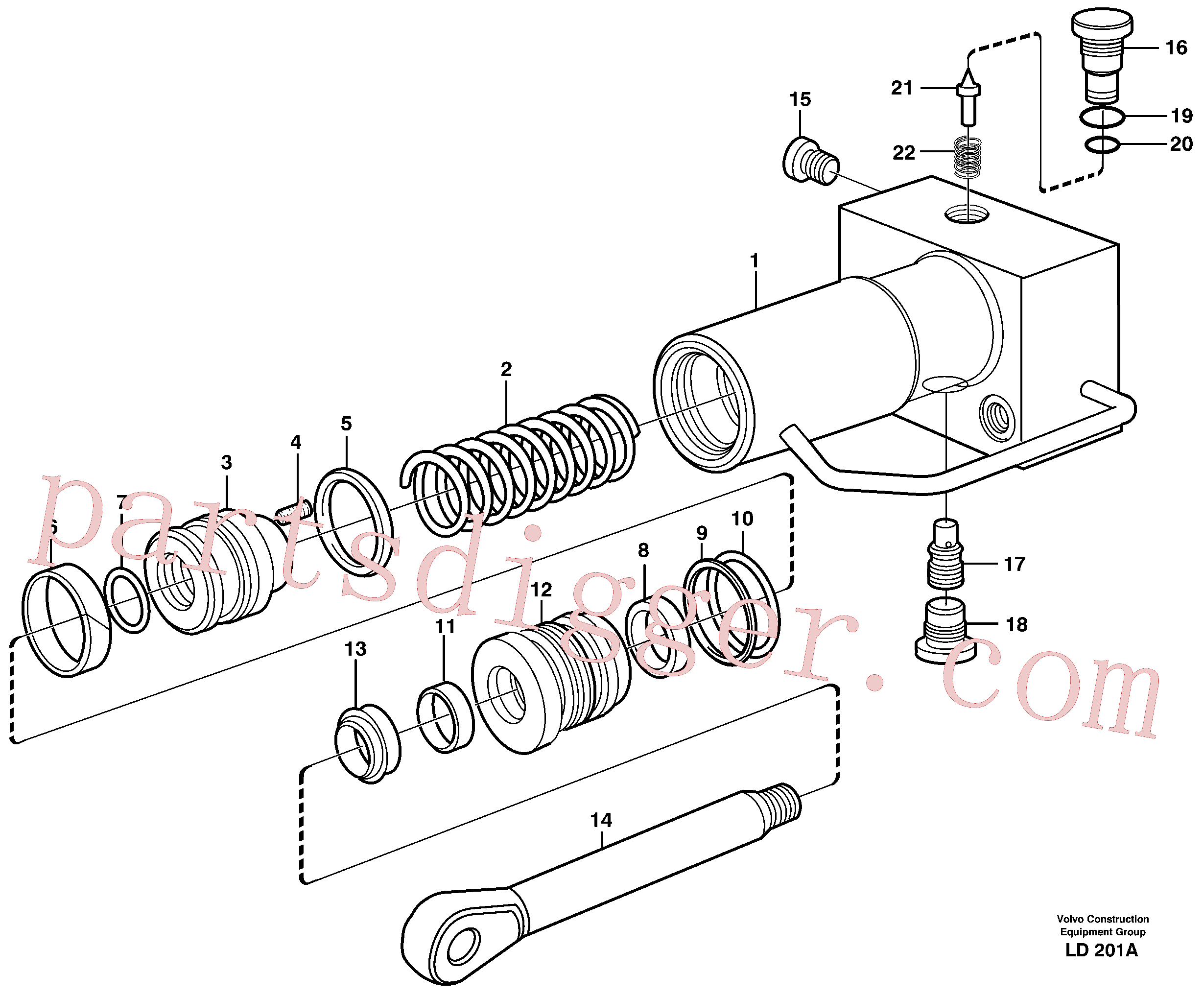 VOE11714180 for Volvo Hydraulic cylinder, quick attachment(LD201A assembly)