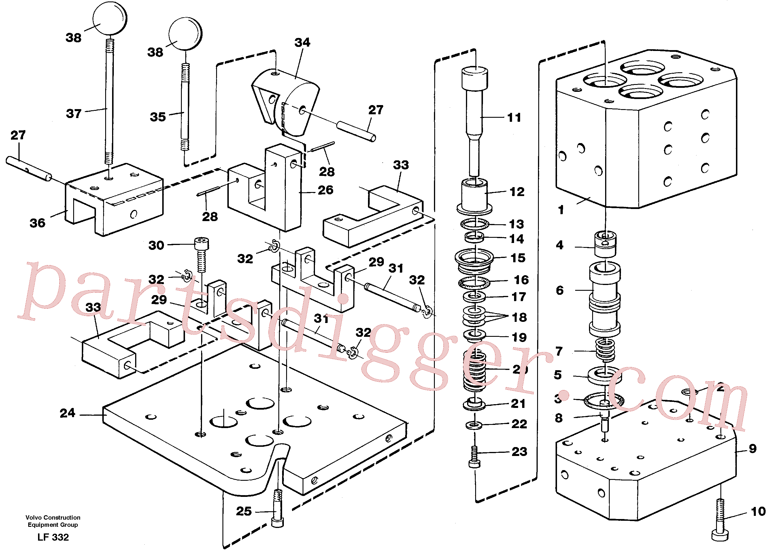 VOE940344 for Volvo Control pressure valve(LF332 assembly)
