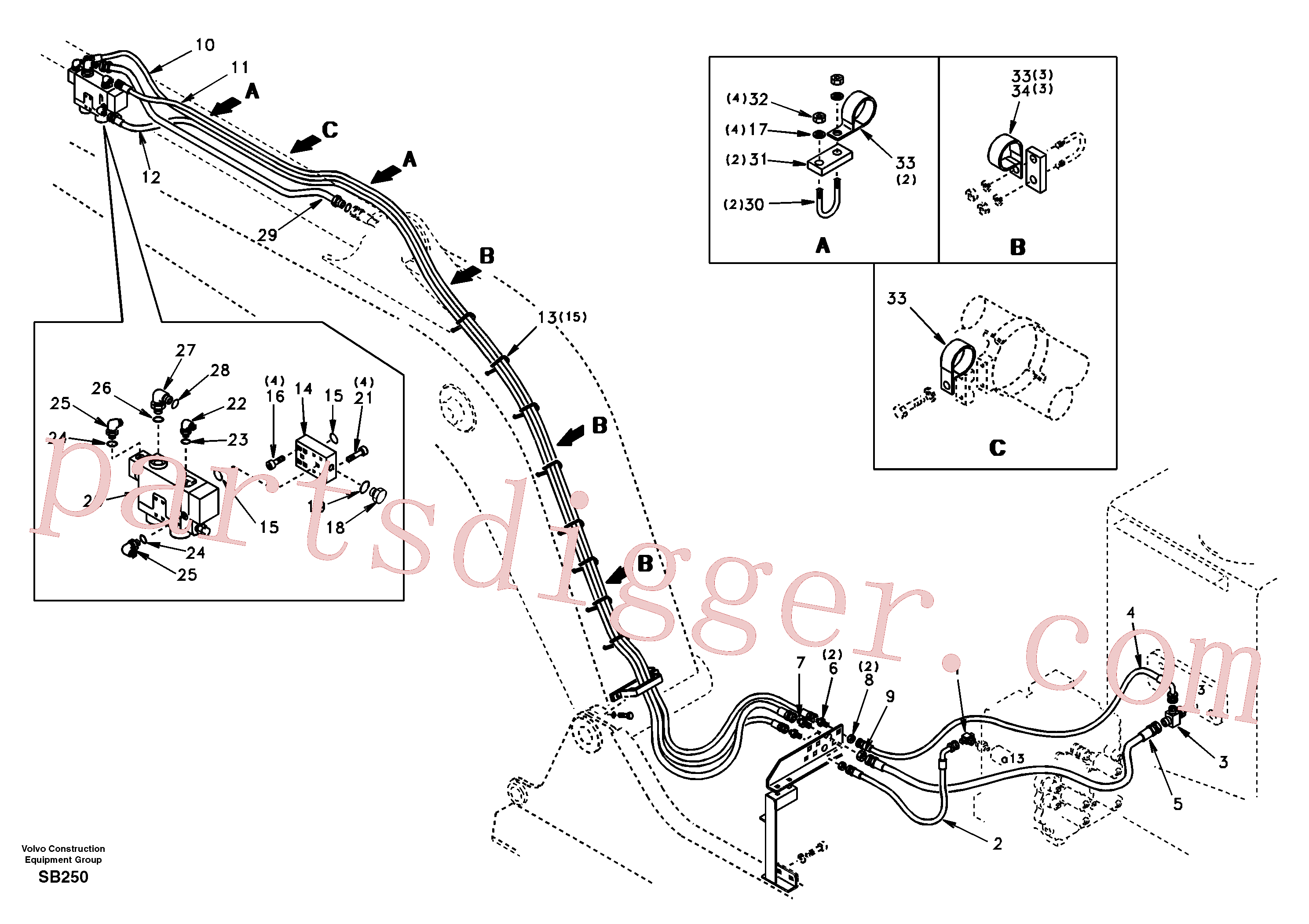 SA9411-96100 for Volvo Working hydraulic, dipper arm rupture(SB250 assembly)