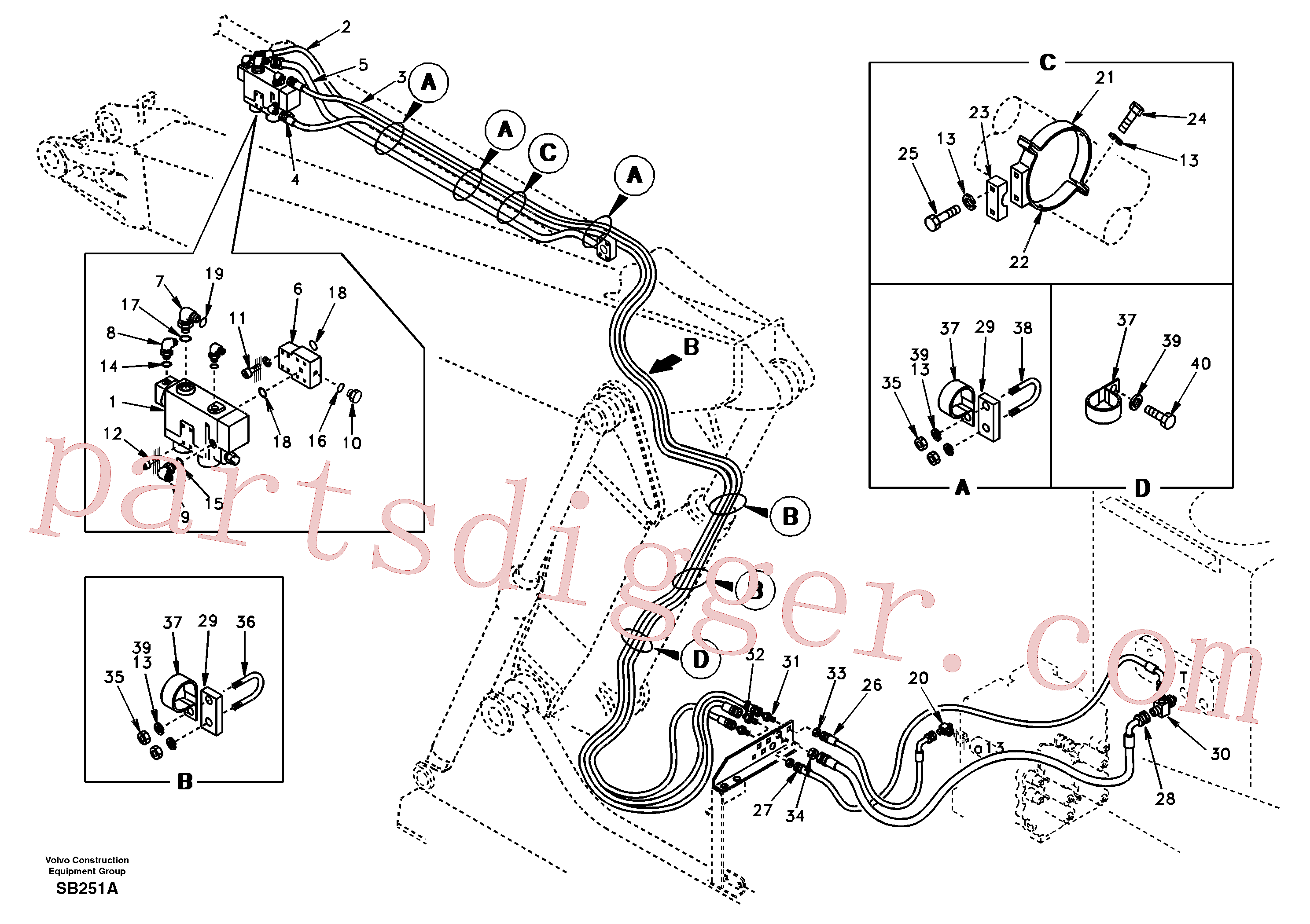 SA9411-96100 for Volvo Working hydraulic, dipper arm rupture and adjustable boom(SB251A assembly)