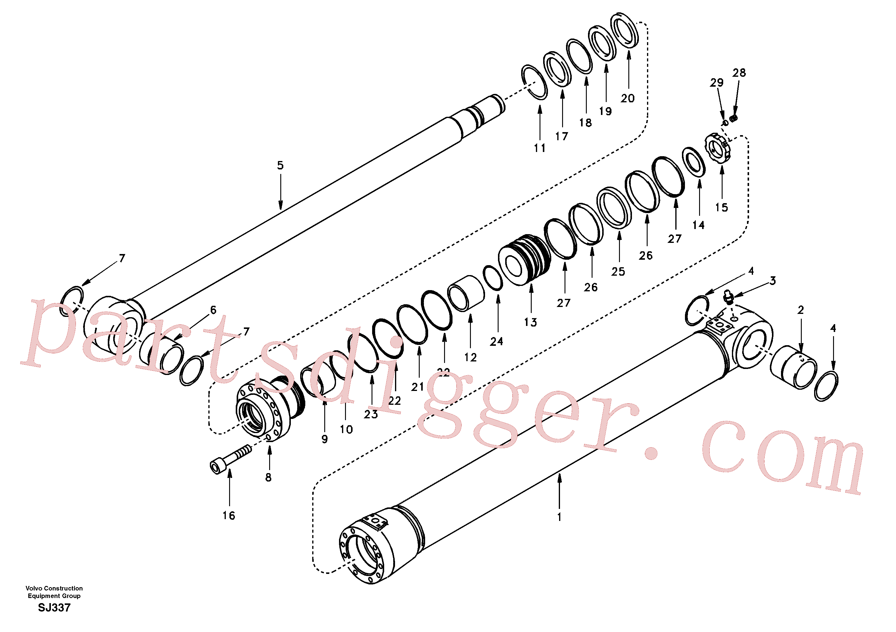 VOE14589657 for Volvo Boom cylinder, 1st boom(SJ337 assembly)