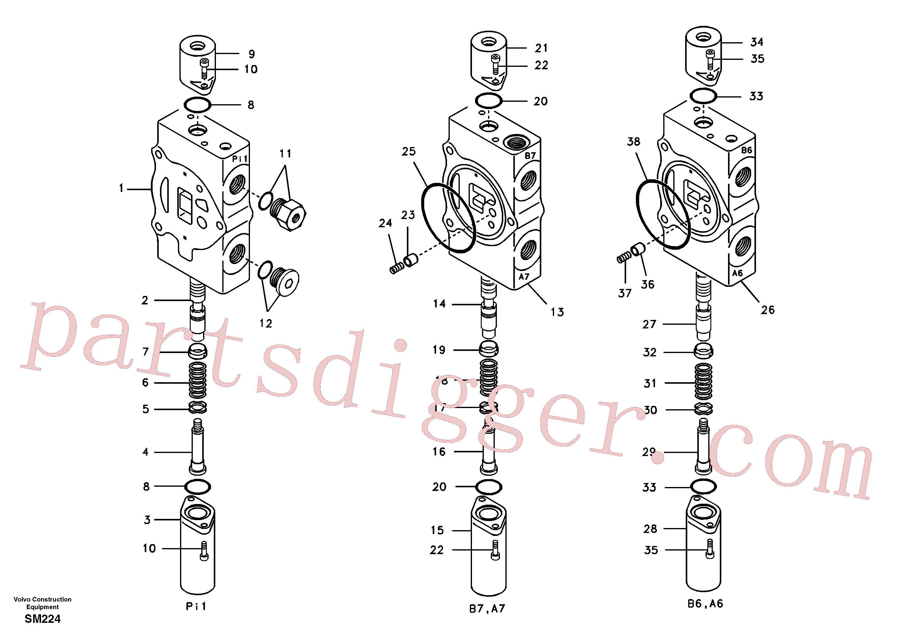 SA8230-23690 for Volvo Main control valve, travel straight forward and dipper arm 1 and boom 2.(SM224 assembly)