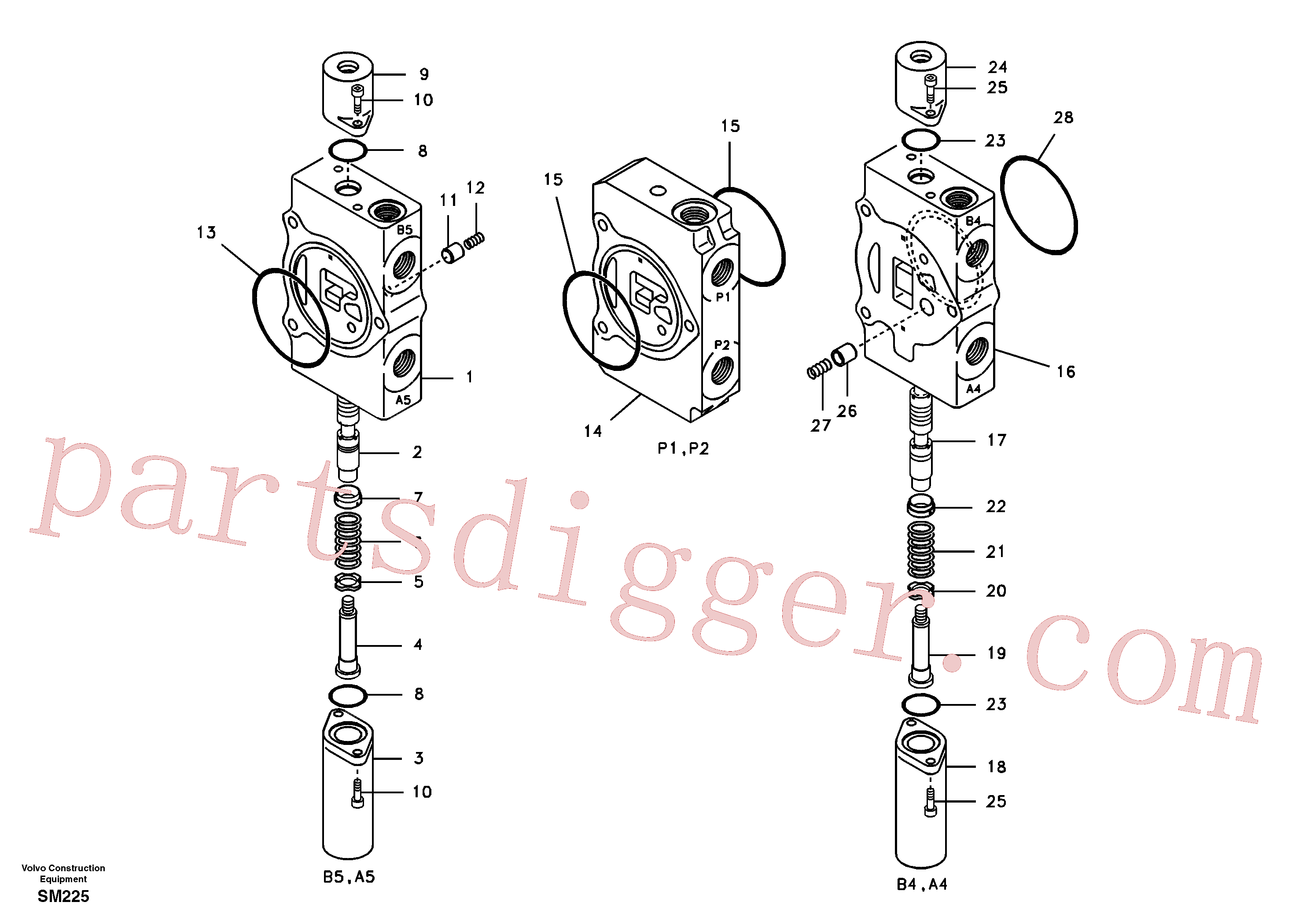 SA8230-23690 for Volvo Main control valve, travel Lh and mid inlet and travel Rh(SM225 assembly)